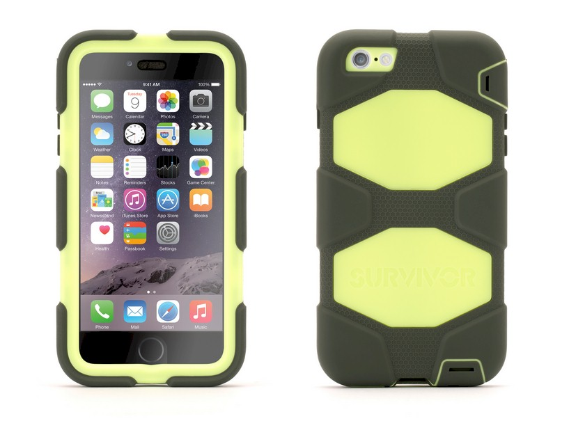 e17296691e6 Funda protectora Griffin Survivor iPhone 6 Plus negra-verde-lima ...