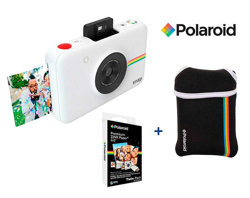 db64a1a363df7 Pack Polaroid Snap blanca + funda + 20 fotos