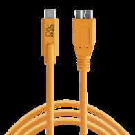 Cable Tether Tools USB-C to 3.0 Micro- B 4,60m naranja