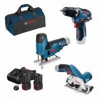 Pack 3pcs Bosch GSR+GKS+GST 12V + cargador + 2 baterías 3.0Ah y bolsa transporte