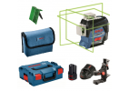 Pack nivel láser Bosch GLL 3-80 GC Verde con soporte, maletín y baterías