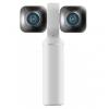 La nueva cámara Vuze XR 360 en color blanco te ofrece dos funciones diferentes: le permite filmar en 360 grados, o en 180 grados y 3D